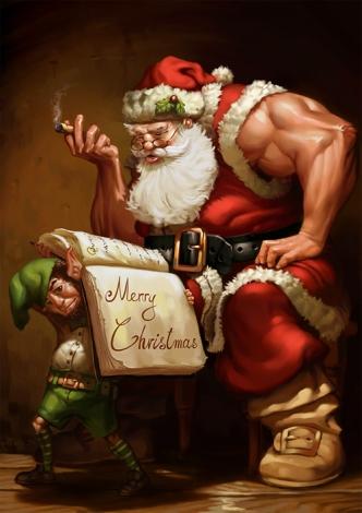6-muscles-santa-claus-christmas-artworks-illustrations